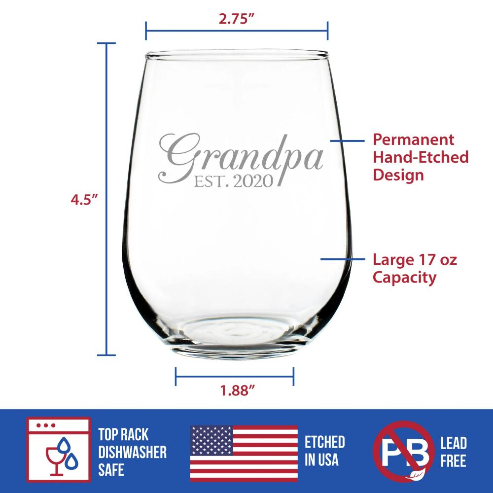Grandpa Est. 2020 - 17 Ounce Stemless Wine Glass