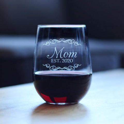 Image of Mom Est. 2020 - 17 Ounce Stemless Wine Glass