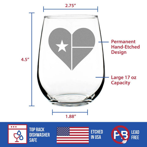 Texas Flag Heart - 17 Ounce Stemless Wine Glass