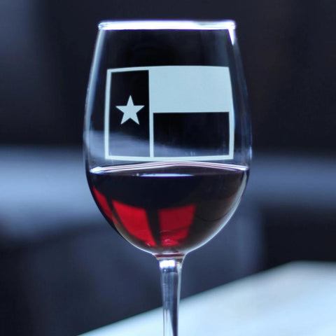 Image of Texas Flag - 16.5 Ounce Stem Wine Glass