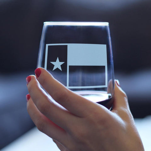 Texas Flag - 17 Ounce Stemless Wine Glass