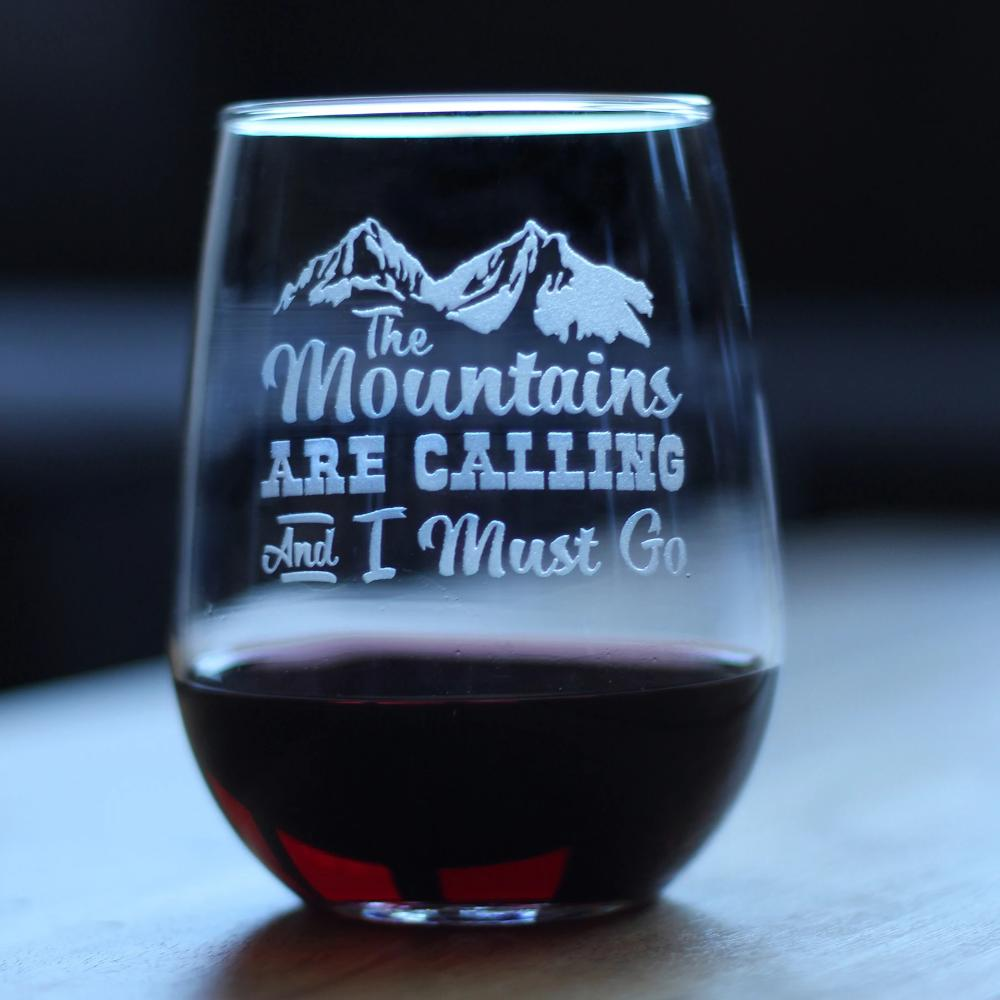 Mountains Are Calling - 17 Ounce Stemless Wine Glass