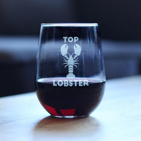 Top Lobster - 17 Ounce Stemless Wine Glass