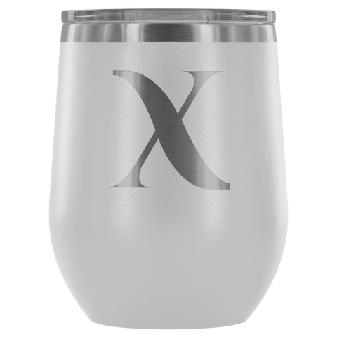Image of Monogram Bold Initial Letter X - Wine Tumbler