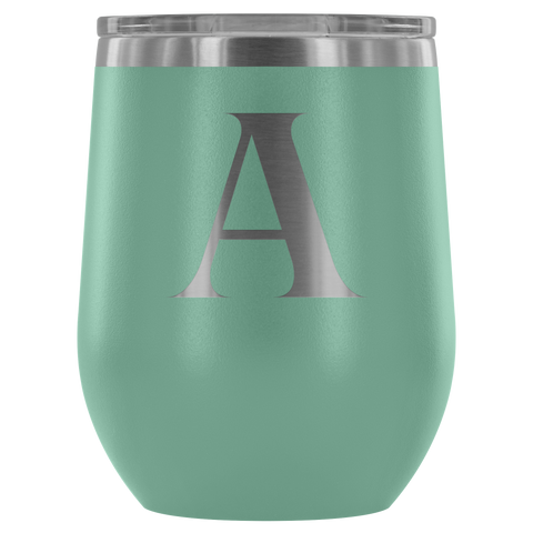 Monogram Bold Initial Letter A - Wine Tumbler
