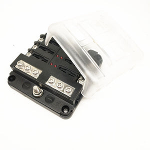 Blade Fuse Block with Cover - 6 Circuit with Negative Bus