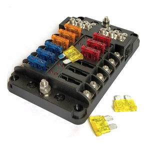 Blade Fuse Block with Cover - 12 Circuit with Negative Bus