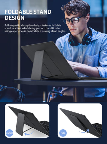 UPERFECT 15.6 Inch Wireless Bluetooth Keyboard With Slim Leather Cases Cover Portable Monitor