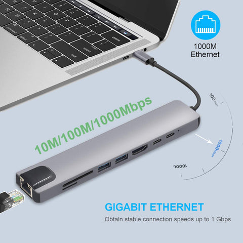 Multiport USB-C HUB to 4K HDMI USB 3.0 Aux Adapter For MacBook Pro Air