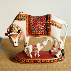 eCraftIndia Meenakari Metal Colorful Cow And Calf Figurine