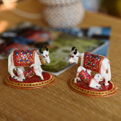eCraftIndia Set of 2 Meenakari Cow And Calf Figurine