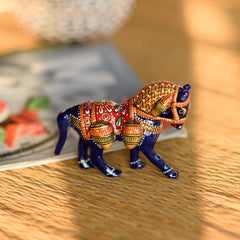 eCraftIndia Colorful Meenakari Horse Figurine