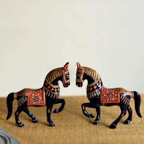 AAH503-eCraftIndia-Set-of-2-Colorful-Meenakari-Marching-Horses-Figurine_1