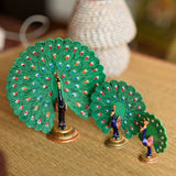 eCraftIndia Set of 3 Coloful Meenakari Dancing Peacocks Figurine