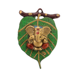 ecraftindia-lord-ganesha-in-red-dhoti-on-green-leaf-wall-hanging_1