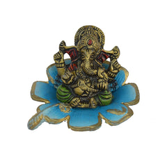 ecraftindia-metal-lord-ganesha-statue-on-sky-blue-leaf_1