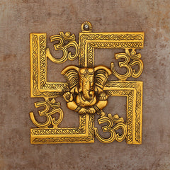 AGG534_GOLD-eCraftIndia-Lord-Ganesha-on-Om-Swastik-Metal-Golden-Wall-Hanging_1