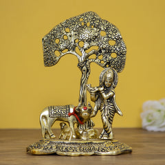 AGK508-eCraftIndia-Lord-Krishna-playing-Flute-under-Tree-with-Golden-Cow-and-Calf-Showpiece_1