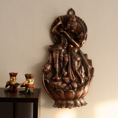 AGRK505-eCraftIndia-Radha-Krishna-on-Lotus-Metal-Wall-Hanging_1
