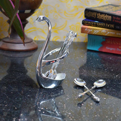 ecraftindia-white-metal-swan-spoon-holder-set-of-4-spoons_1