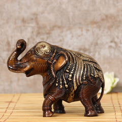 BAE500-eCraftIndia-Antique-Finish-Decorative-Brass-Elephant-Fingurine_1