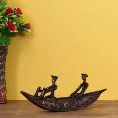 BBAB503-eCraftIndia-Antique-Finish-2-Men-in-Boat-Brass-Decorative-Showpiece_1