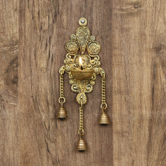 BGGDB116-eCraftIndia-Antique-Finish-Decorative-Handcrafted-Brass-Wall-Hanging-Diya-with-Bells_1