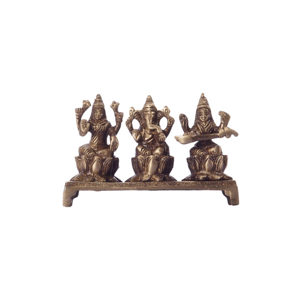 ecraftindia-antique-finish-brass-laxmi-ganesha-saraswati-on-lotus-base_1