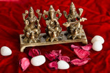 ecraftindia-antique-finish-brass-laxmi-ganesha-saraswati-on-lotus-base_2