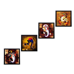 c4fpb1102-ecraftindia-set-of-4-lord-ganesha-satin-matt-texture-uv-art-painting_1