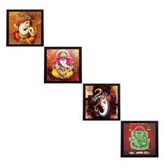 c4fpb1113-ecraftindia-set-of-4-lord-ganesha-satin-matt-texture-uv-art-painting_1