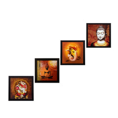 ecraftindia-set-of-4-ganesha-and-buddha-satin-matt-texture-uv-art-painting_1