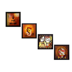 ecraftindia-set-of-4-radha-krishna-ganesha-and-buddha-satin-matt-texture-uv-art-painting_1