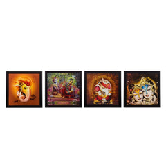 ecraftindia-set-of-4-radha-krishna-and-ganesha-satin-matt-texture-uv-art-painting_1
