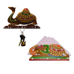 ecraftindia-combo-of-camel-key-holder-and-tissue-paper-holder_1