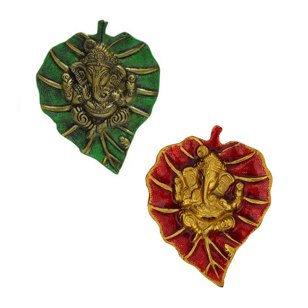 ecraftindia-combo-of-lord-ganesha-on-green-and-red-leaf_1