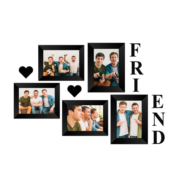 "eCraftIndia-Memory-Wall-Collage-Photo-Frame-Set-of-5-Photo-Frames-for-3-Photos-of-4""x6"",-2-Photos-of-5""x7"",-1-Piece-of-FRIENDS,-2-Pieces-of-HEARTS_1"
