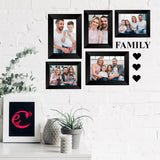 "eCraftIndia-Memory-Wall-Collage-Photo-Frame-Set-of-5-Photo-Frames-for-3-Photos-of-4""x6"",-2-Photos-of-5""x7"",-1-Piece-of-FAMILY,-3-Pieces-of-HEARTS_2"