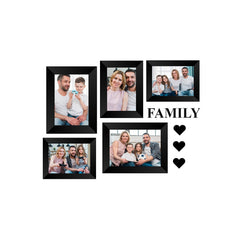 "eCraftIndia-Memory-Wall-Collage-Photo-Frame-Set-of-5-Photo-Frames-for-3-Photos-of-4""x6"",-2-Photos-of-5""x7"",-1-Piece-of-FAMILY,-3-Pieces-of-HEARTS_1"