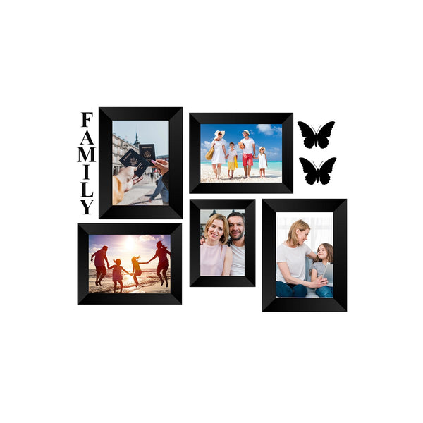 "eCraftIndia-Memory-Wall-Collage-Photo-Frame-Set-of-5-Photo-Frames-for-1-Photos-of-4""x6"",-4-Photos-of-5""x7"",-1-Piece-of-FAMILY,-2-Pieces-of-BUTTERFLIES_1"