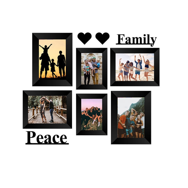 "eCraftIndia-Memory-Wall-Collage-Photo-Frame-Set-of-6-Photo-Frames-for-2-Photos-of-4""x6"",-4-Photos-of-5""x7"",-1-Piece-of-FAMILY,-1-Piece-of-PEACE,-2-Pieces-of-HEARTS_1"