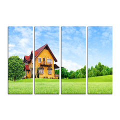 ecraftindia-4-panel-beautiful-hut-shape-house-premium-canvas-painting_1
