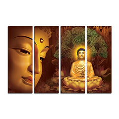 cpgkb2103-ecraftindia-4-panel-meditating-buddha-premium-canvas-painting_1