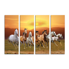 ecraftindia-4-panel-lucky-7-running-horses-premium-canvas-painting_1