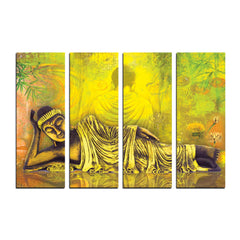 ecraftindia-4-panel-resting-buddha-premium-canvas-painting_1