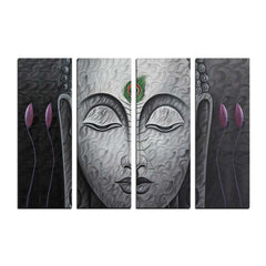 ecraftindia-4-panel-meditating-buddha-premium-canvas-painting_1