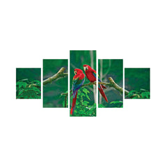cpgkb59029-ecraftindia-set-of-5-parrots-pair-premium-canvas-painting_1