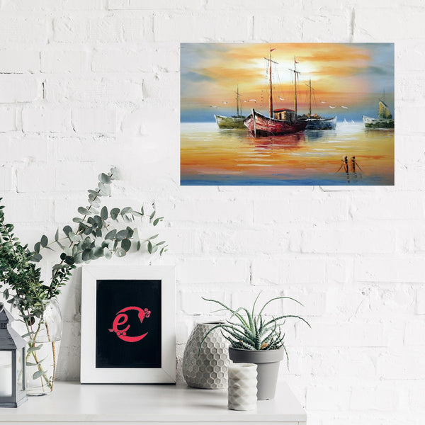 eCraftIndia Beautiful Boats Design Self Adhesive Sparkle Coated Painting without frame