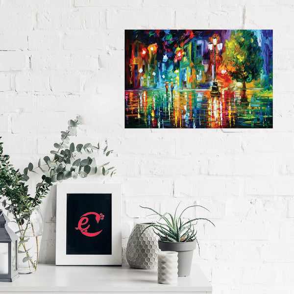 eCraftIndia Beauty Under Rain Design Self Adhesive Sparkle Coated Painting without frame