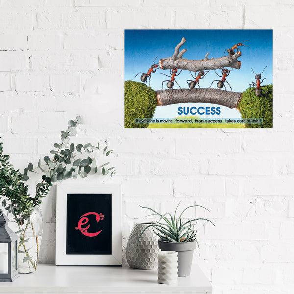 eCraftIndia Success Theme Design Self Adhesive Sparkle Coated Painting without frame